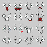 Comic cartoon faces with different emotions. Vector illustration Royalty Free Stock Photo