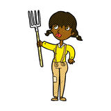 Comic cartoon farmer girl Royalty Free Stock Images