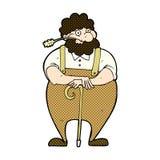 Comic cartoon farmer leaning on walking stick Royalty Free Stock Image