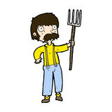 Comic cartoon farmer with pitchfork. Retro comic book style cartoon farmer with pitchfork Stock Photo
