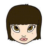 Comic cartoon female face Stock Photos