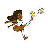 Comic cartoon female soccer player kicking ball Stock Images