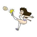 Comic cartoon female soccer player kicking ball Royalty Free Stock Photos