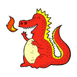 Comic cartoon fire breathing dragon. Retro comic book style cartoon fire breathing dragon Stock Image