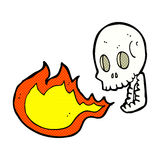 Comic cartoon fire breathing skull Stock Photos