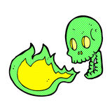 Comic cartoon fire breathing skull Royalty Free Stock Images
