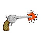 Comic cartoon firing gun. Retro comic book style cartoon firing gun Stock Photography