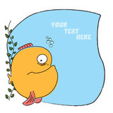 Comic cartoon fish. Cartoon comic funny fish with thought bubble for greeting card. For more different fishes visit my portfolio Stock Images