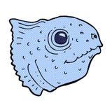 Comic cartoon fish head. Retro comic book style cartoon fish head Stock Photography