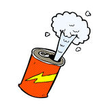 Comic cartoon fizzing soda can Royalty Free Stock Photography