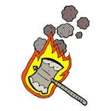 Comic cartoon flaming axe Stock Photos