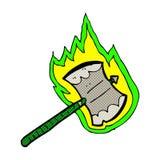 Comic cartoon flaming axe Stock Images