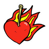 Comic cartoon flaming heart cherry Stock Photos