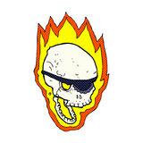 comic cartoon flaming pirate skull Royalty Free Stock Images
