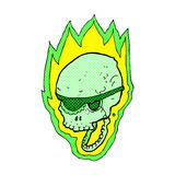 Comic cartoon flaming pirate skull Royalty Free Stock Photos