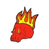 Comic cartoon flaming skull Royalty Free Stock Photos