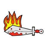 comic cartoon flaming sword Stock Photos