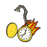 comic cartoon flaming watch Stock Images