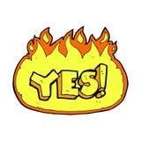 Comic cartoon flaming yes symbol Royalty Free Stock Photo