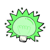 comic cartoon flashing green light bulb Stock Photo
