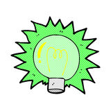 comic cartoon flashing green light bulb Stock Images