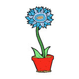 comic cartoon flower in pot Stock Image