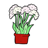 comic cartoon flowers in pot Royalty Free Stock Photo