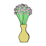 comic cartoon flowers in pot Stock Photo