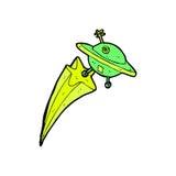 Comic cartoon flying saucer Royalty Free Stock Photos