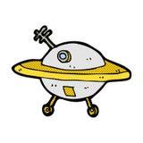 Comic cartoon flying saucer Stock Photos