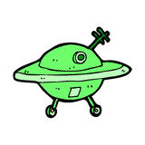 Comic cartoon flying saucer Stock Photos