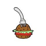 Comic cartoon fork and burger Stock Image