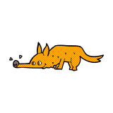 Comic cartoon fox sniffing floor Royalty Free Stock Images
