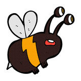Comic cartoon frightened bee Royalty Free Stock Images