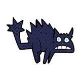 Comic cartoon frightened black cat Stock Images