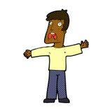 Comic cartoon frightened man Stock Image