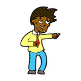 comic cartoon funny office man pointing Stock Photography