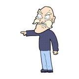 Comic cartoon furious old man Stock Images