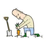 Comic cartoon gardener Royalty Free Stock Photo