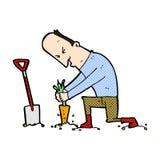 Comic cartoon gardener Royalty Free Stock Image