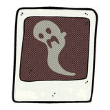 Comic cartoon ghost in the photograph Royalty Free Stock Image