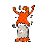 comic cartoon ghost rising from grave Royalty Free Stock Image