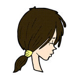 Comic cartoon girl looking thoughtful Royalty Free Stock Photo
