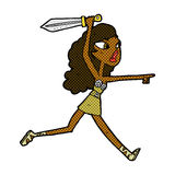 Comic cartoon girl with sword Stock Images