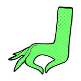 Comic cartoon green hand symbol Royalty Free Stock Images