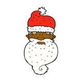 Comic cartoon grim santa face Royalty Free Stock Image