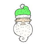Comic cartoon grim santa face. Retro comic book style cartoon grim santa face Royalty Free Stock Photography