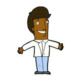 Comic cartoon grining man with open arms Stock Photo