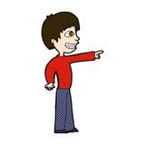 Comic cartoon grinning boy pointing Stock Photos