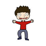 Comic cartoon grinning boy Royalty Free Stock Image